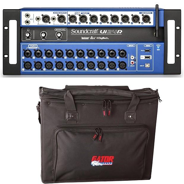 Soundcraft Ui24R 24-Ch Rackmount Digital Mixer + Gator Padded Gear Carry Bag