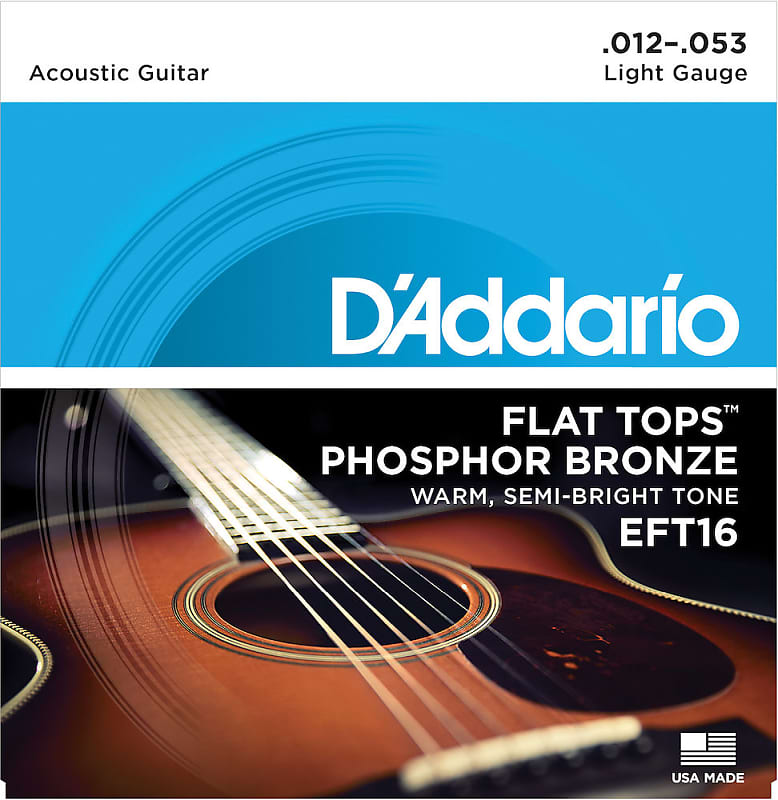 D'Addario EFT16 Flat Top Phosphor Bronze Acoustic Guitar Light Gauge 12-53 Strings