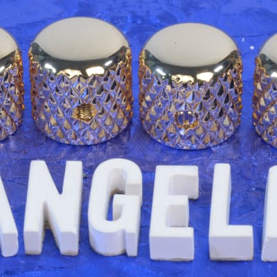 """Four Gold Vintage Tele Style Knobs With Super Heavy Knurling For 1/4"""" Solid Shaft CTS Pots NEW!"""