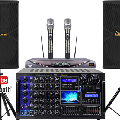 IDOLmain Full- Featured Pro Karaoke System With Power Amplifier, Mixing Amp, Wireless Mics