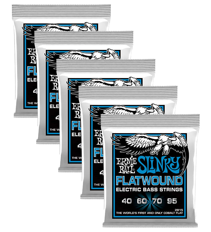 5 pack ernie ball p02815 extra slinky flatwound bass strings reverb. Black Bedroom Furniture Sets. Home Design Ideas