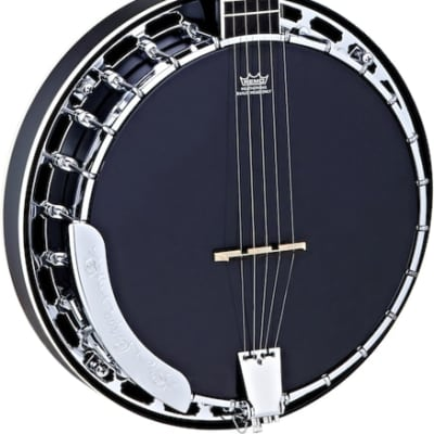 Ortega Guitars OBJ450-SBK Raven Series Banjo 5-string Mahogany Resonator Body w/ Free Bag, Black Satin Finish