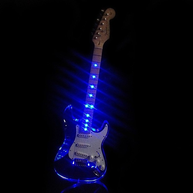 speed 1 acrylic electric guitar lucite clear body with led reverb. Black Bedroom Furniture Sets. Home Design Ideas