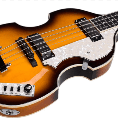 Jay Turser JTB-2B-VS Series Semi-Hollow Violin Shaped Body Electric Bass Guitar - Vintage Sunburst for sale