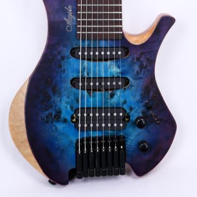 "Agile 8 String 28 5/8"" Scale Headless Electric Guitar Chiral 828 HSS Satin Blue Purple"