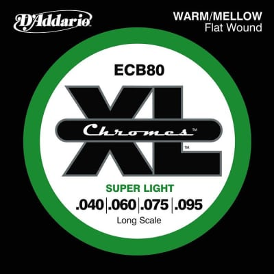 D\'Addario ECB80 XL Chromes Flat Wound Bass Strings Long Scale 40-95