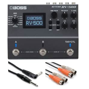 BOSS RV-500 Reverb  Effects Pedal with 20ft Guitar Cable + 10ft Dual MIDI Cable