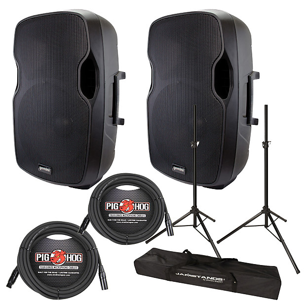 gemini as 15p 15inch powered speaker pair pa package with reverb. Black Bedroom Furniture Sets. Home Design Ideas