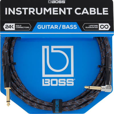 Boss Straight to Right-Angle Instrument Cable - 10' Black