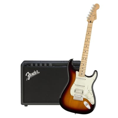 Fender Player Stratocaster HSS 3 Tone Sunburst Maple Neck & Fender Mustang GT 40 Bundle for sale