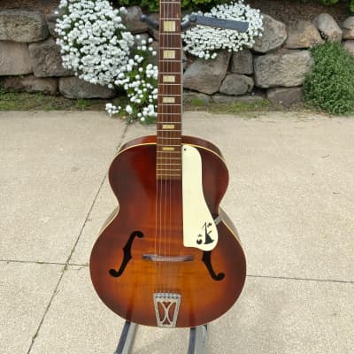 Arcadia  Archtop Acoustic Guitar F Holes Vintage 1950s Red Sunburst for sale
