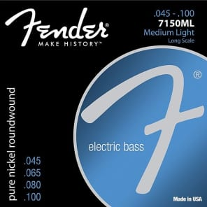 Fender 7150 Bass Strings, Pure Nickel, Roundwound, Long Scale, 7150ML .045-.100 Gauges, (4) Standard