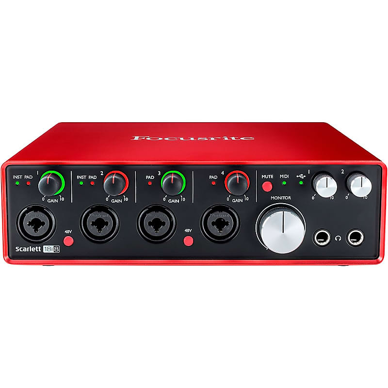 focusrite scarlett 18i8 recording package with r80 ribbon reverb. Black Bedroom Furniture Sets. Home Design Ideas