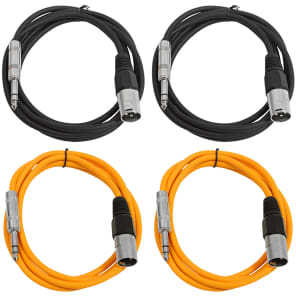 "Seismic Audio SATRXL-M6-2BLACK2ORANGE 1/4"" TRS Male to XLR Male Patch Cables - 6' (4-Pack)"