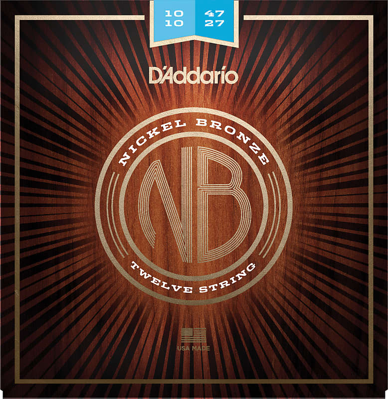 D'Addario NB1047-12 Nickel Bronze Acoustic Guitar Strings, 12-String, Light 10-