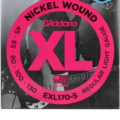 D'Addario EXL170-5 Regular Light Nickel Wound 5-string Long Scale Bass Strings - .045-.130