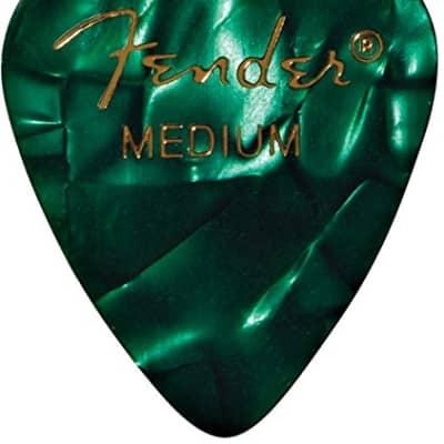 Fender 351 Premium Celluloid Guitar Picks - MEDIUM, GREEN MOTO 12-Pack (1 Dozen) for sale