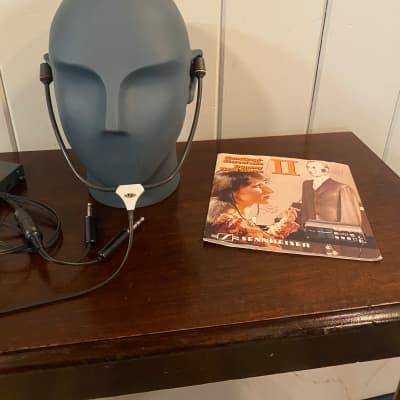Sennheiser MKE 2002 Binaural Microphone Head 1980's  Blue/Gray