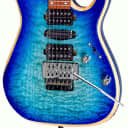 Bootlegger Guitar Royal Blue Flame Maple Stiletto Hard Case & Flask