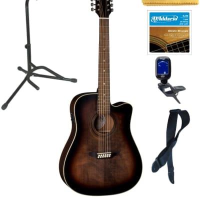 Luna Guitars ART V DCE 12 Art Vintage12 String A/E Guitar, Stand Bundle