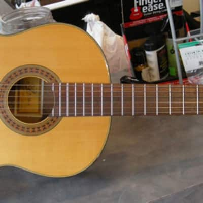 Aria Model A-586 Natural Gloss Finish Solid Spruce Top Classical Nylon String Acoustic Guitar for sale