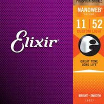 Elixir Strings Nanoweb Phosphor Bronze Acoustic Guitar Strings -.011-.052 Custom Light