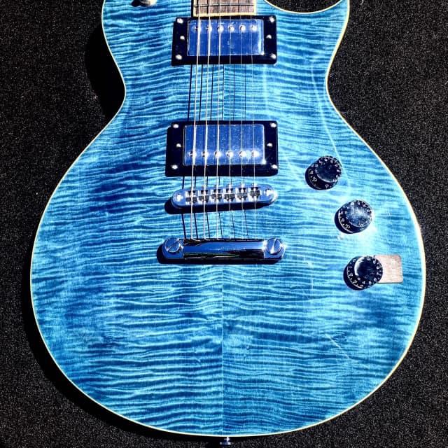ESP LTD EC256 CB Cobalt Blue Flame Top Electric Guitar image