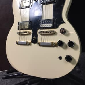 Ibanez 2402DX Bolt-On Doubleneck 12 and 6-String Guitar White with Gold Hardware