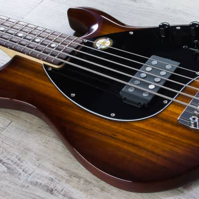 Sterling by Music Man Ray35 Koa Top 5-String Bass Rosewood Board Natural + Bag image
