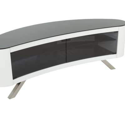 AVF Affinity Plus - Bay Plus 1500 Curved TV Stand (White/Black Glass)