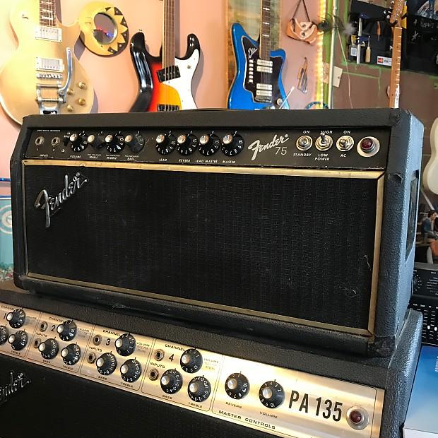 fender 75 tube guitar amp head c 1980 black reverb. Black Bedroom Furniture Sets. Home Design Ideas