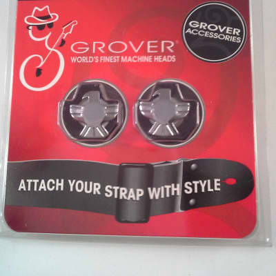 Grover Strap Lock End Pin Buttons- New - Chrome Eagle - Free Shipping