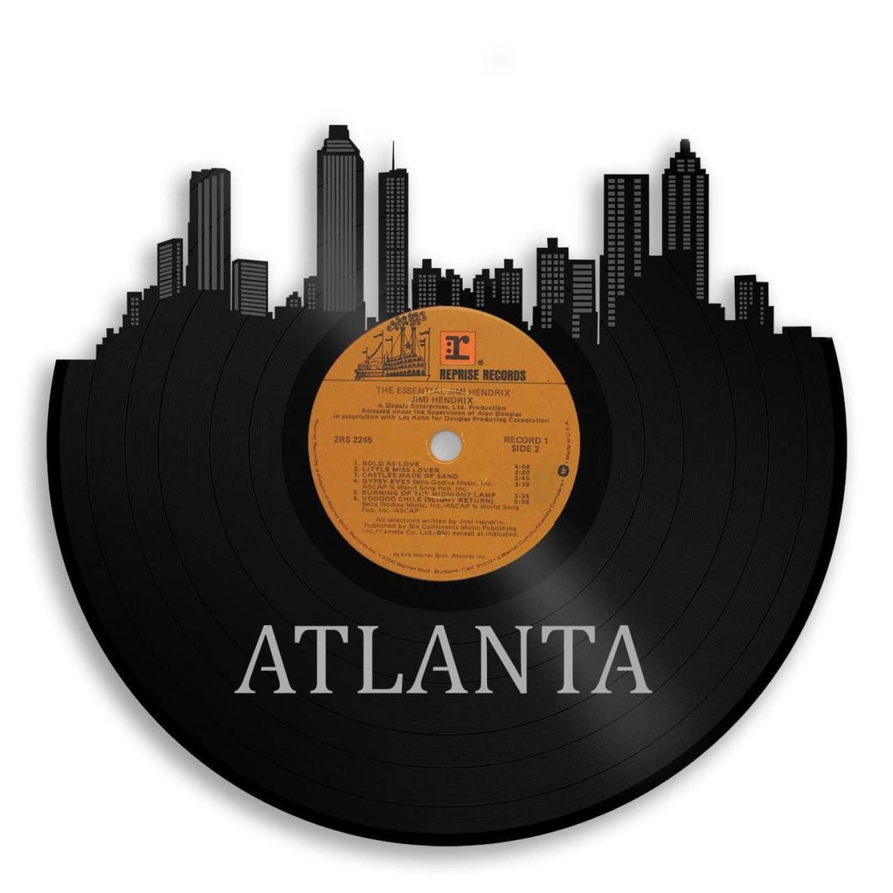 atlanta skyline vinyl wall art silver no frame reverb. Black Bedroom Furniture Sets. Home Design Ideas