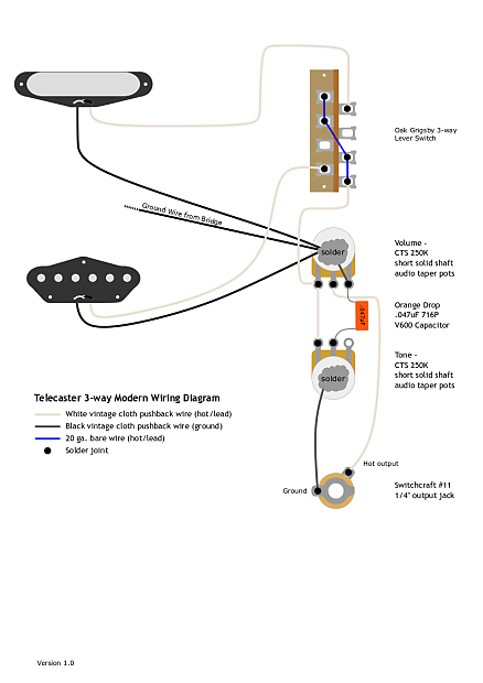 Telecaster Wiring Kit | CTS, Oak Grigsby, Orange Drop, | Reverb on vintage telecaster wiring diagram, fender lead ii wiring diagram, telecaster wiring schematics, telecaster wiring 5-way switch, telecaster deluxe wiring-diagram, telecaster wiring position 5, strat bridge tone control wiring diagram, telecaster custom 5-way switch, single phase compressor wiring diagram, telecaster wiring mods, fender tbx tone control wiring diagram, telecaster seymour duncan wiring diagrams, california 3 way wiring diagram, nashville telecaster wiring diagram, telecaster 4-way switch and 3 pickups, socket wiring diagram, fender strat wiring diagram, telecaster texas special wiring diagram, telecaster guitar wiring diagrams, telecaster wiring harness,