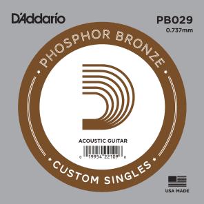 D'Addario PB029 Phosphor Bronze Wound Acoustic Guitar Single String .029