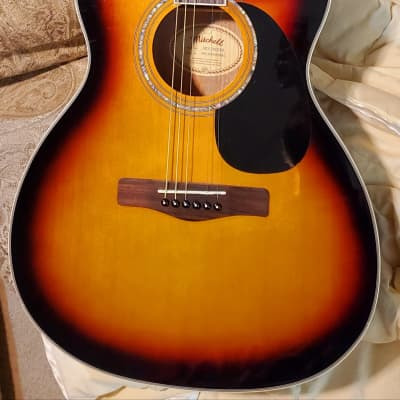 Mitchell O120CESB Orchestra Cutaway 3 Color Sunburst Electric Acoustic Guitar for sale