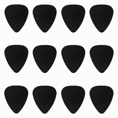 ABS Plastic Black Guitar Or Bass Pick - 0.71 mm Medium Gauge - 351 Shape - 12 Pack New