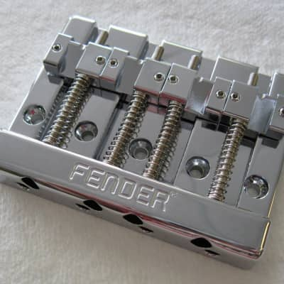 Fender 099-4408-000 HiMass 4-String Bass Bridge Assembly with Brass Saddles