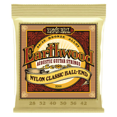 EARTHWOOD FOLK NYLON, CLEAR & GOLD BALL END, 80/20 BRONZE ACOUSTIC GUITAR STRINGS - 28-42 GAUGE