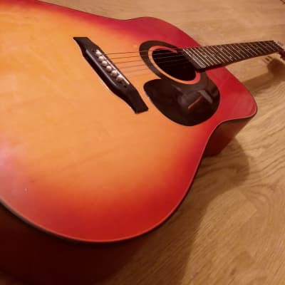 Global 1970s Red Sunburst Dreadnought With Case for sale