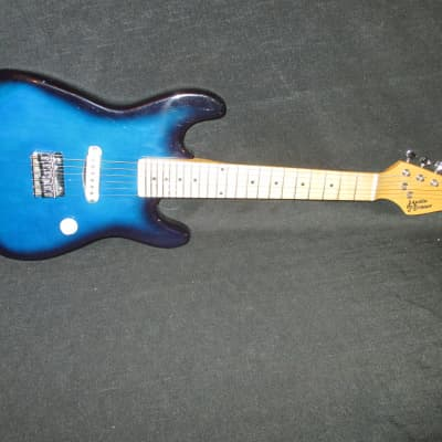 Austin Bazaar Mini Travel Kid Guitar Blue for sale