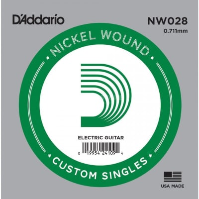 D'Addario Nickel Wound Electric Single String NW028