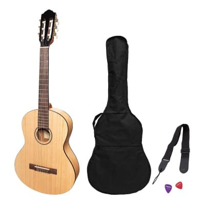 Martinez 'Slim Jim' 3/4 Size Electric Classical Guitar Pack with Pickup/Tuner (Mindi-Wood) for sale