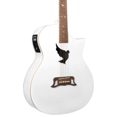 Lindo White Dove V2 Spruce Top Electro Acoustic Guitar with Preamp/Tuner & Padded Gig Bag for sale