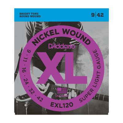 D'Addario EXL120 Nickel Wound Electric Guitar Strings, Super Light, 09-42