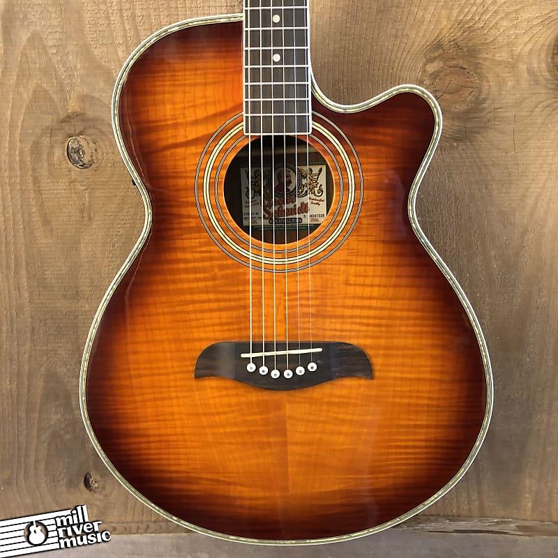 Oscar Schmidt OG10CEF Cutaway Acoustic Electric Guitar Flame Yellow Sunburst