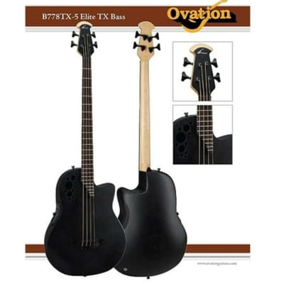Ovation Elite TX B778TX-5 Roundback Acoustic-Electric 4-String Bass Guitar for sale