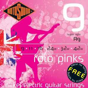 Rotosound R9 Roto Pinks Nickel-Plated Steel Electric Guitar Strings - Super Light (9-42)