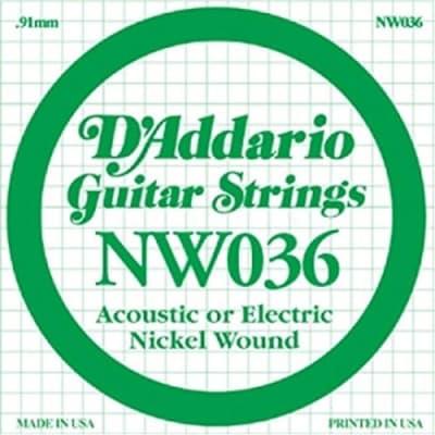 D'Addario NW036 Nickel Wound Electric Guitar Single String, .036