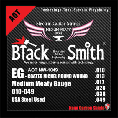 BLACKSMITH Electric 6 String Set, Nano-Carbon Coated Steel - Medium Meaty 010 - 049